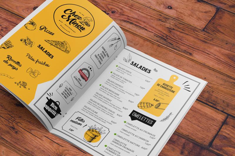 Print, impression, carte, menu