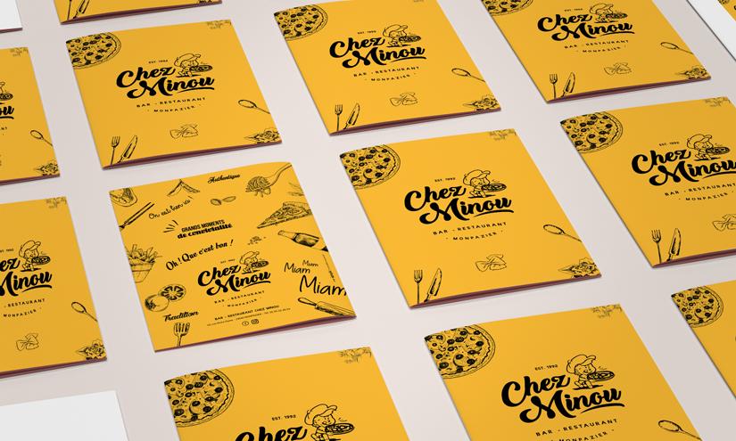 Carte Menu Restaurant Chez Minou, Monpazier. Design by ookpik
