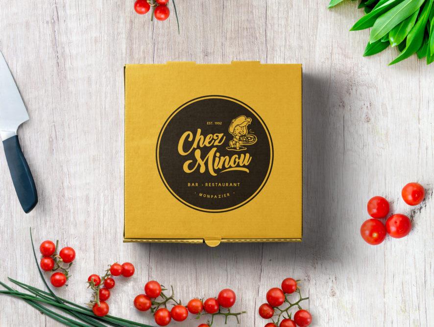 Boîte à Pizzas, restaurant chez Minou, Monpazier, Design by ookpik